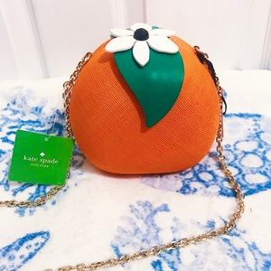 NWT 🍊 Kate Spade Orange Straw Chain Bag